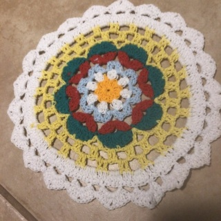 Hand Crochet Two Cotton Doilies and Free Gift. #45
