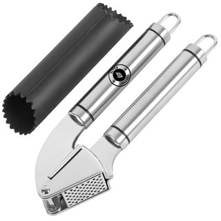 NEW Garlic Press & Peeler Set Stainless Steel Mincer and Silicone Tube Roller