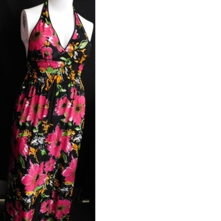 Plus Size Maxi Dress Low Back Stretchy Pink Black Floral