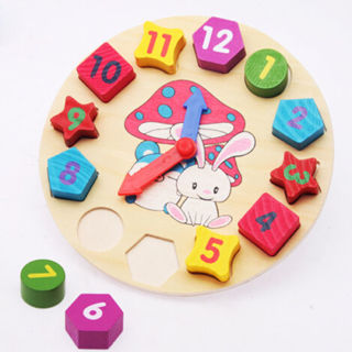 12 Colors Number Puzzle Educational Toy Bricks Clock for Baby Kids Toddler