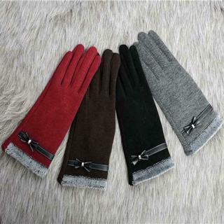 Women Girls Touch Screen Gloves Winter Warm PU Leather Bow Knot