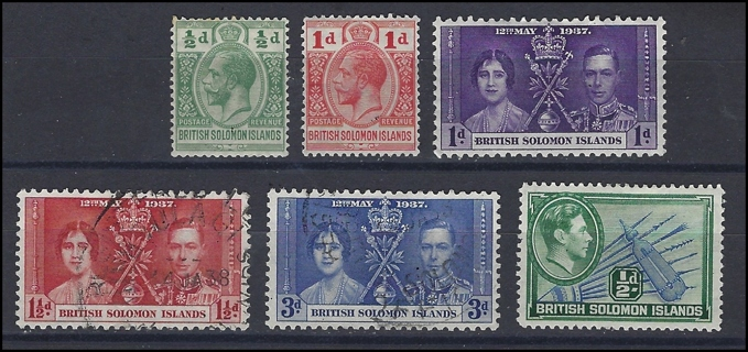 British Solomon Islands stamps from 2 reigns (5), MH/U/ V/VF