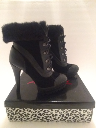 Women, Black Leather & Suede Boots with Fur Trim