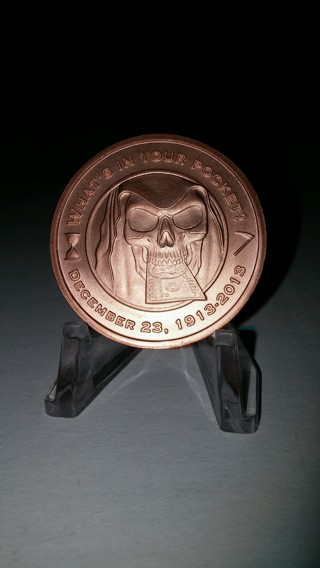 """1oz. .999 Fine Copper Bullion Round """"Grim Reaper"""" Design"""