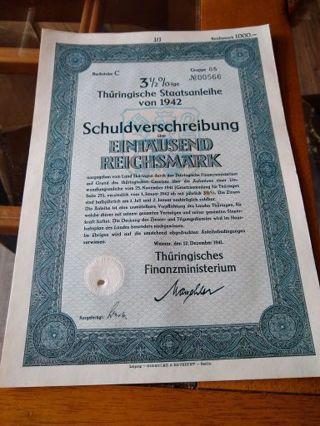 1942 Third Reich Nazi Germany 1000 Reichsmark Bond final price reduction