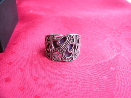 Huge Sterling Silver marcasite purple stone Ring size 10