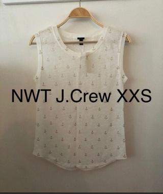 NWT J.Crew Cream Anchor 100% Linen Tank Top • XXS • Free Shipping