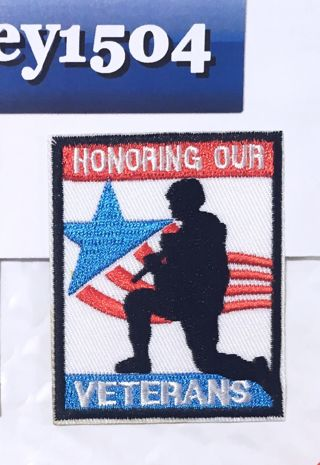 1 NEW HONORING OUT VETERANS IRON ON PATCH ADHESIVE CLOTHING BADGE FREE SHIPPING