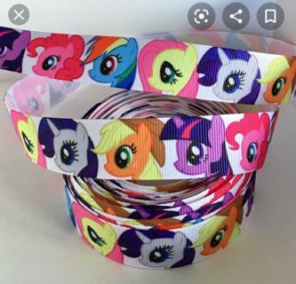 "My Little pony MLP Heads 7/8"" grosgrain ribbon 1 yard NEW"