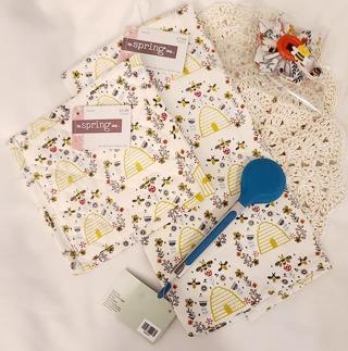 Crochet 2 - 9 inch handmade Dish cloths 1 Large Flour sac towel 1 Bee Flower Magnet 1 PAIR TONGS