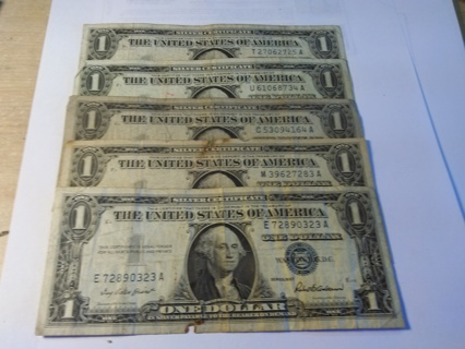 5 SILVER CERTIFICATES *BLUE NOTES*
