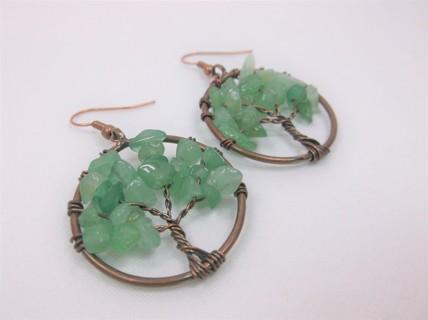 Pre-Owned Tree of Life Aventurine Earrings