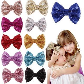 Cute Kids Girls Baby Glitter Shiny Sequin Bowknot Hair Clip Hair Bow Hairpin