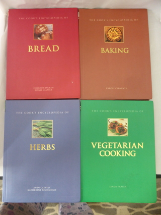 Lot of 4 The Cook's Encyclopedia of Baking, Bread, Herbs & Vegetarian- Full Color Paperback