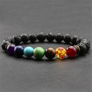 [GIN FOR FREE SHIPPING] 7 Chakra Healing Balance Beaded Bracelet Lava Yoga Reiki
