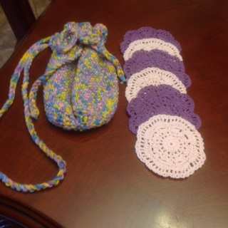 Hand Crochet Cotton Bag/Sack with Free Gifts.