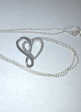 Relisted Due to Non Payment Black & White Diamond Accent Heart Infinity Necklace