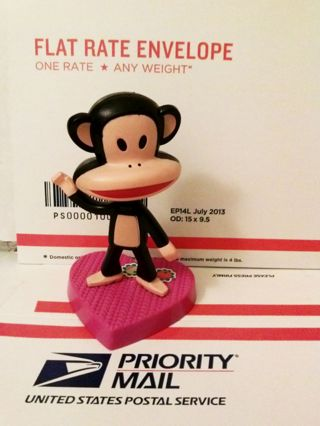 """Genuine PAUL FRANK brand stand up monkey toy cute clean figure 3"""" EUC gin=fast shipping"""
