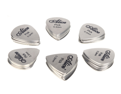 12pcs Guitar Bass Picks Stainless Steel Acoustic Electric Guitar Pick.W108