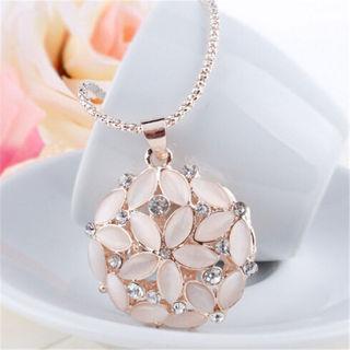 2016 Women Opal Crystal Flower Long Pendant Necklace