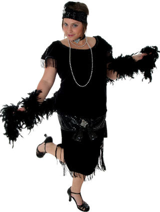 3372c3ea583 Free  DELUXE BLACK PLUS SIZE FLAPPER COSTUME 5X 30 32W - Halloween ...