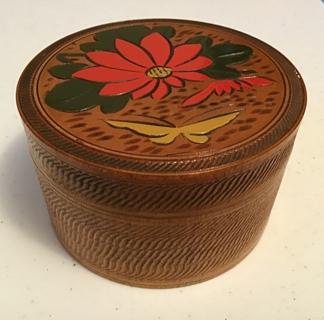 Stamped occupied Japan Wood carved flower details coasters set of 8 in holder vintage antique