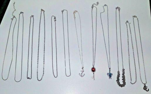 Lot: 12 Necklaces/Chains/Pendants .925 Jewelry