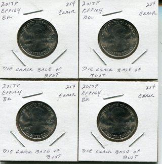 Free 2017 P Effigy Mounds Atb Quarter Errors X 4 Bu Coins