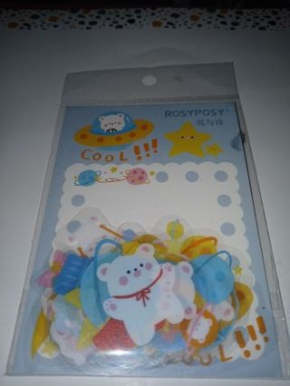 """❤✨❤✨❤️20 BRAND NEW LARGE KAWAII CLEAR """"COOL PLANET BEAR"""" STICKER FLAKES❤✨❤✨❤"""