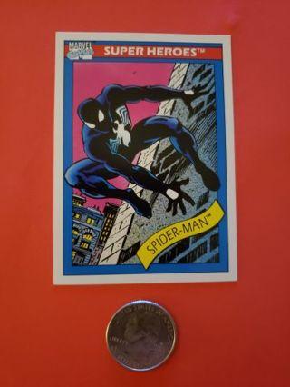 1990 Marvel Universe Trading Cards #2 Spider-Man (Black Suit) Impel