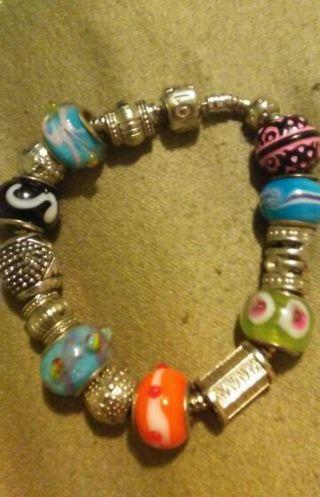 Vintage Gemstone Pendant with Love Bracelet