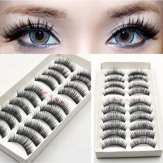 10 Pairs Long False Eyelashes Makeup Natural Fake Thick Black Eye Lashes Fashion