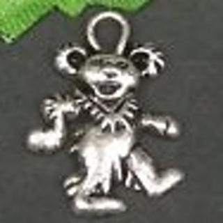 New Grateful dead silver teddy Bear charm