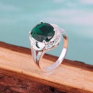 size 6-9 Natural Crystal women 925 sterling silver emerald gemstone wedding ring
