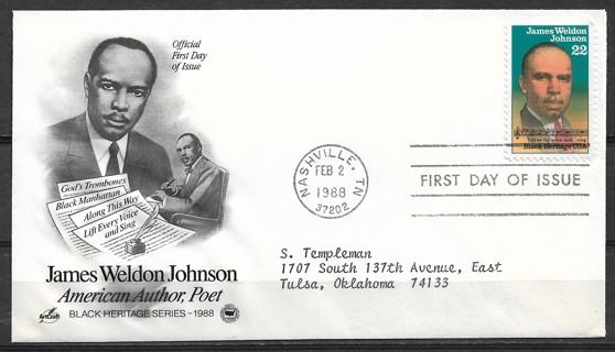 1988 USA Sc2371 Poete James Weldon Johnson FDC