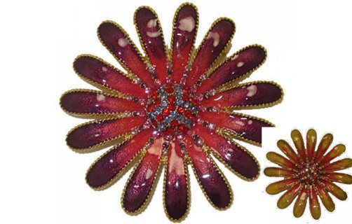 Pin sunflower pin purple or yellow flower NWT