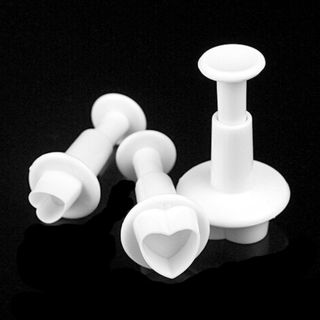 3Pcs Love Heart Fondant Plunger Cutters Icing Mould Cake Decorating Baking