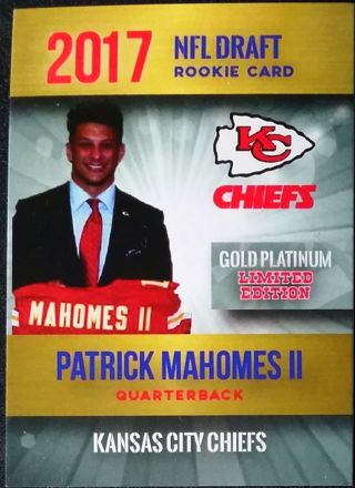 2017 Patrick Mahomes II Rookie Draft Card
