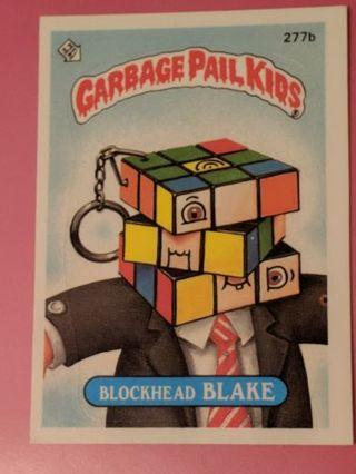 1987 Topps GPK 277b BlockHead Blake Sticker Card
