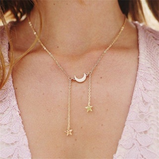 Classic Moon Stars Tassel Chain Pendant Gold Silver Necklace Women Fashion Clothing Clavicle