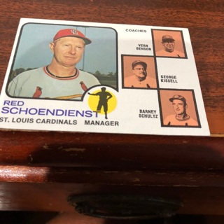 1973 topps Red schoendienst manager baseball card