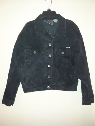 Ladies Black Denim Jacket by Bill Blass, Size M