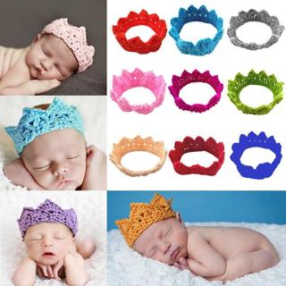 Knitting Crown Newborn Photography Props Cute Baby Caps Soft Baby Knitted Hat Bebe Infant Headband