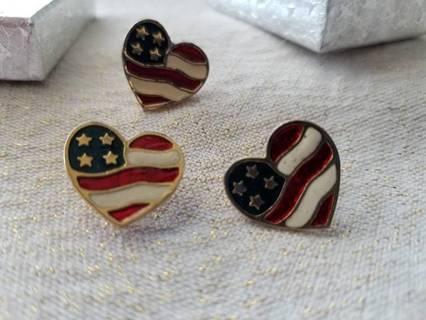 AVON HEART FLAG EARRINGS & PIN - 1990's - FREE SHPG =_)