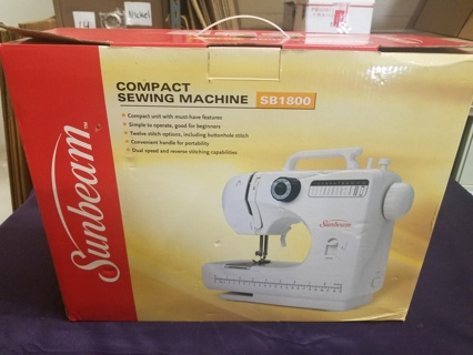Sunbeam Compact Sewing Machine Model: SB1800 Gently Used w/FREE SHIPPING Included
