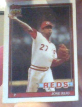 **1991 TOPPS JOSE RIJO REDS MINI BASEBALL CARD**