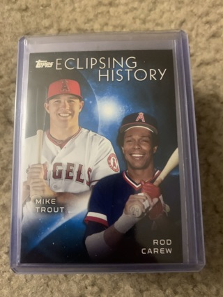 Mike Trout / Rod Carew 2015 Topps Eclipsing History Insert Angels