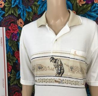 MEN'S POLO shirt nice Collar golf top size LARGE FREE SHIPPING