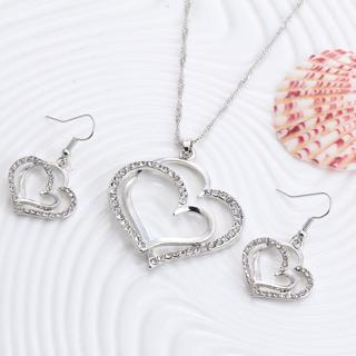 Romantic Heart Pattern Crystal Earrings Necklace Set Silver Color Chain Jewelry Sets Wedding Jewelry