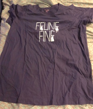 "BNIP 3X/4X Navy Blue, Short Sleeved, Cotton, Night Dress. ""FELINE FINE"" & Several Cats On Front."